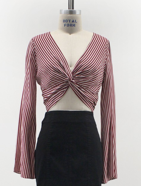 YT029-S-TOP-BLOUSE-STRIPE-TWIST - orangeshine.com