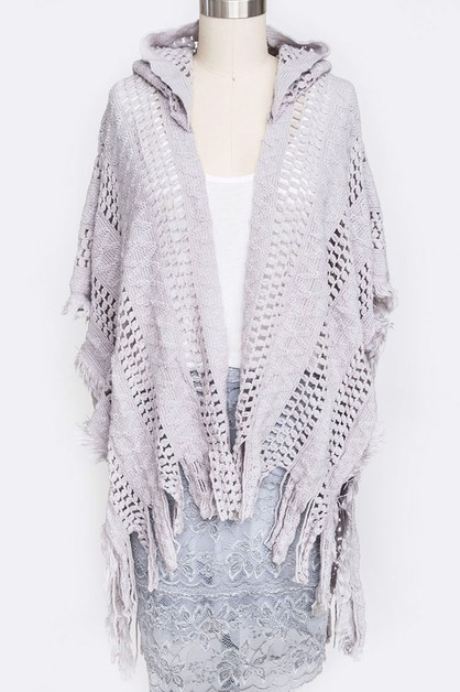 Hooded Open Knit Fringe Cardigan - orangeshine.com