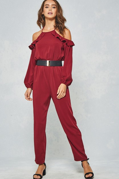 Solid Ruffled Halter Jumpsuit  - orangeshine.com
