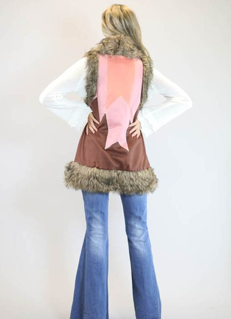 MULTI COLOR FAUX SUEDE VEST - orangeshine.com