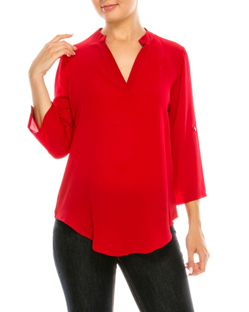 Solid V-Neck Blouse - orangeshine.com
