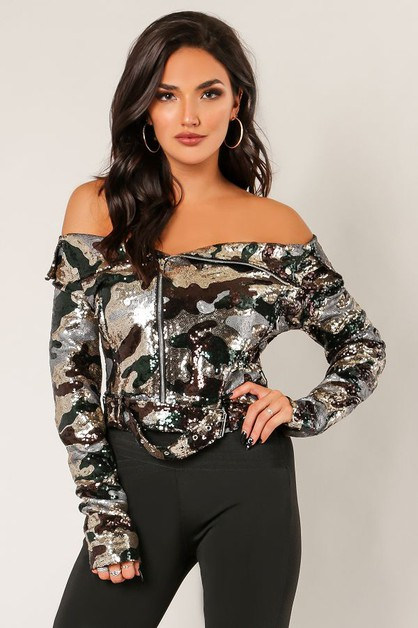 2Fer Off The Shoulder Sequins Jacket - orangeshine.com