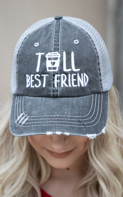 Tall Best Friend Embroidered Trucker - orangeshine.com