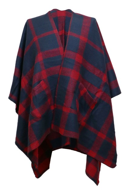 Plaid Shawl Cover Up with Pockets - orangeshine.com