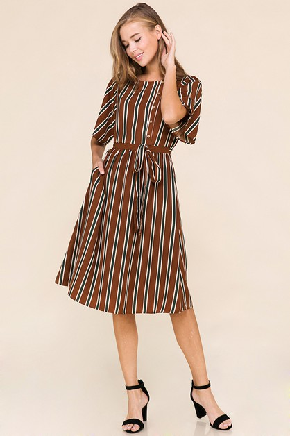 WAIST TIE BUTTON FRONT STRIPED DRESS - orangeshine.com
