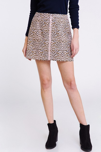 LEOPARD ZIP UP SKIRT - orangeshine.com