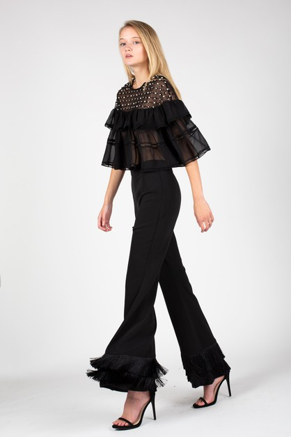 Flared pants with tiered fringe hem - orangeshine.com