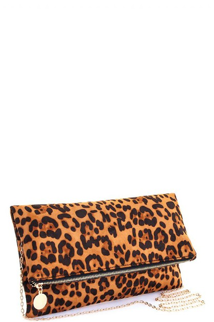 Fashion Leopard Foldover Clutch  - orangeshine.com