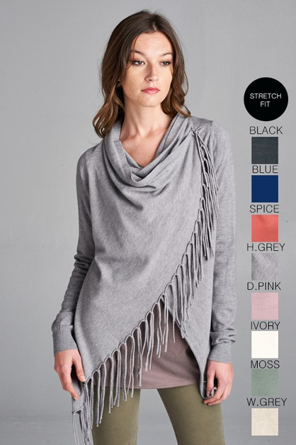 KNIT ASYMMETRICAL CARDIGAN - orangeshine.com