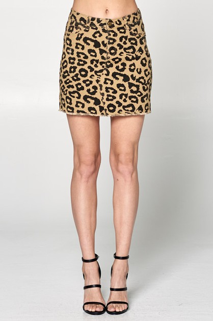 LEOPARD PRINT DENIM MINI SKIRT  - orangeshine.com