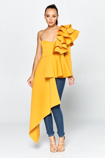 Unbalanced dress top with ruffels - orangeshine.com