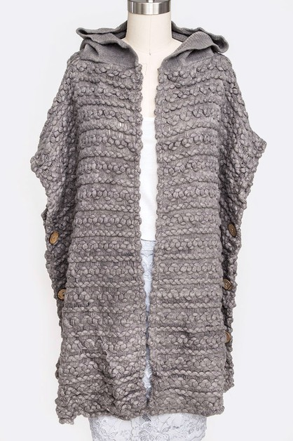 Raised Knit Hooded Side Poncho - orangeshine.com