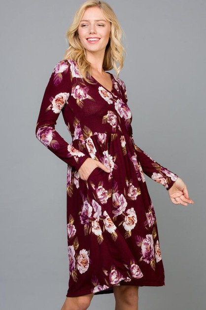 Floral Front Wrap Midi Dress Pockets - orangeshine.com