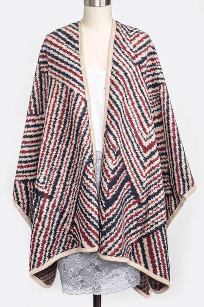 Mix Linear Printed Fleeced Poncho - orangeshine.com