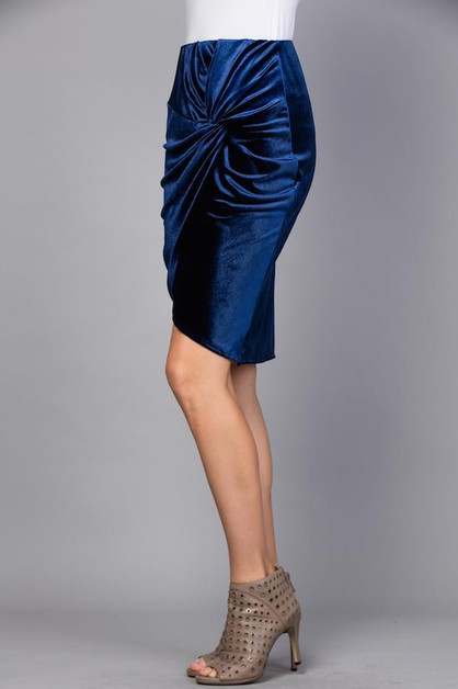 Velvet Solid Twist Knot Skirt - orangeshine.com