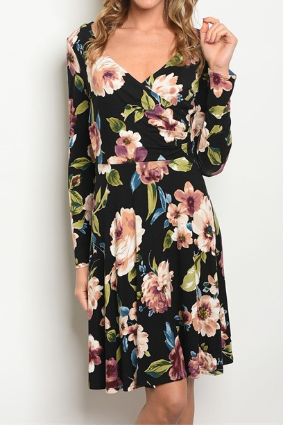 KNIT FLORAL LONG SLEEVE DRESS - orangeshine.com