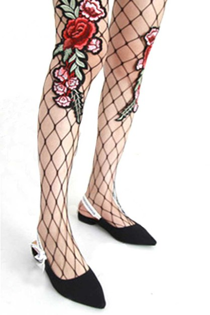 Rose Embroidery Fishnet Tights - orangeshine.com