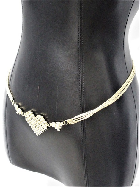 RHINESTONE HEART METAL CHAIN BELT - orangeshine.com