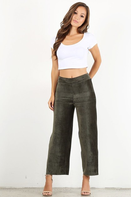 Plus Size Velvet Cropped Pants - orangeshine.com