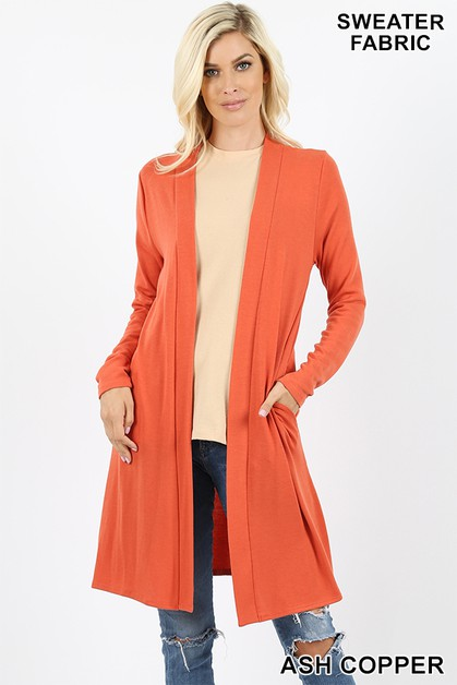 SWEATER OPEN FRONT LONGLINE CARDIGAN - orangeshine.com