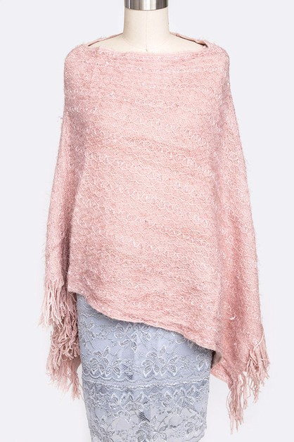 Sequins Plushy Fashion Poncho - orangeshine.com