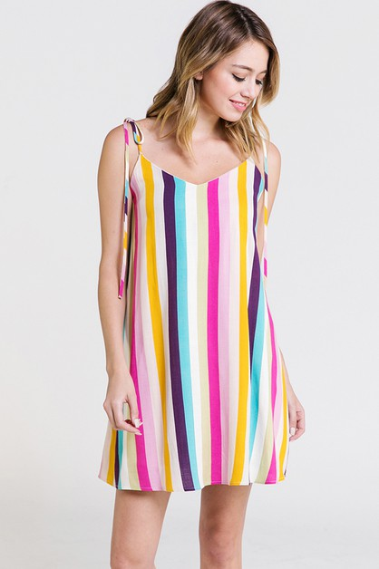 MULTI STRIPED RIBBON TIE DRESS - orangeshine.com