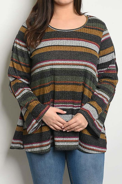 OPEN BELL SLEEVE LOOSE FIT STRIPE TO - orangeshine.com