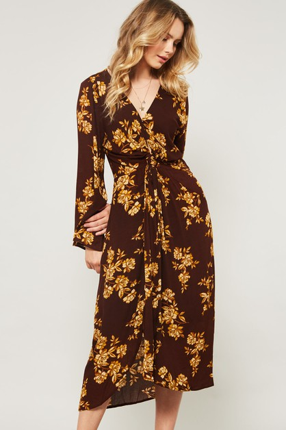 Floral Midi Dress Knot Waist - orangeshine.com