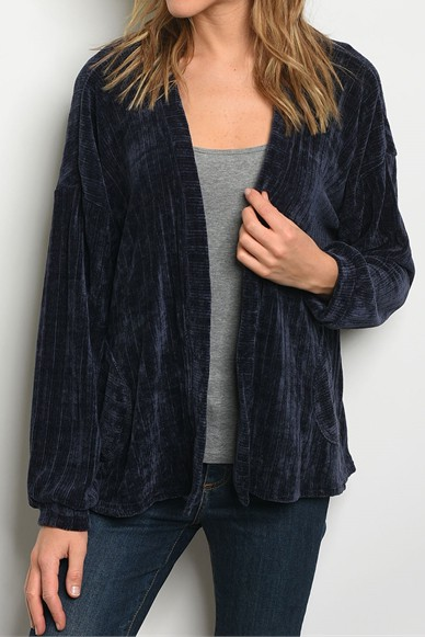 NOVELTY VELVET TEXTURED CARDIGAN - orangeshine.com