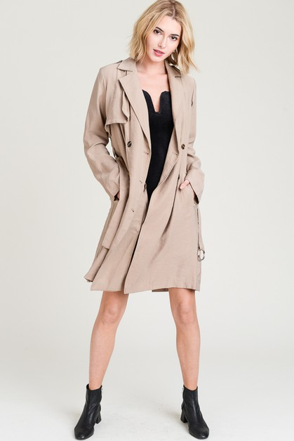Double Breasted Belted Trench Coat - orangeshine.com