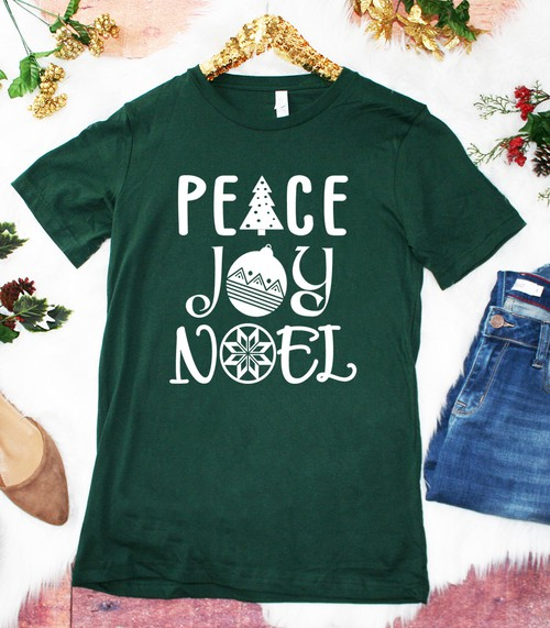 Peace Joy Noel Christmas Graphic Top - orangeshine.com