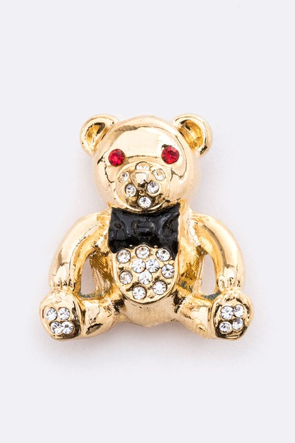 Crystal Teddy Bear Brooch - orangeshine.com