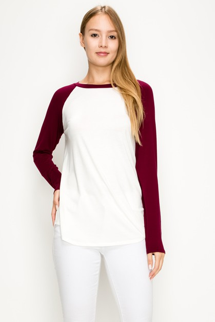 Contrast Sleeves Round Neck Top - orangeshine.com