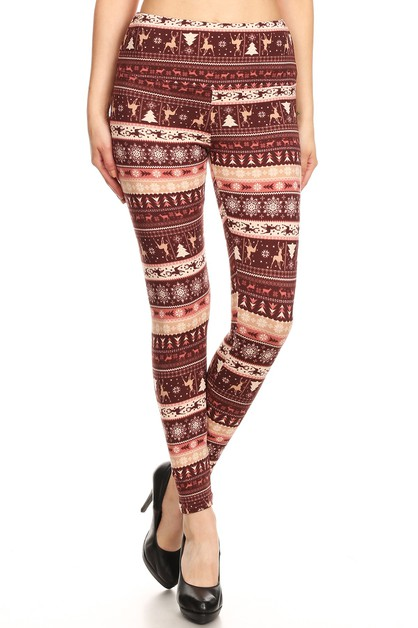 Fair Isle High Waist Fleece Leggings - orangeshine.com