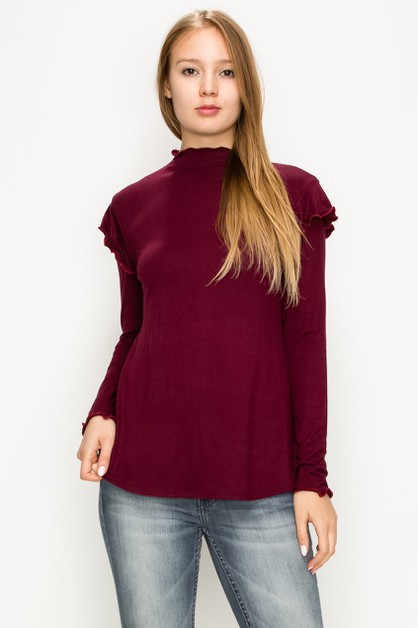 Turtle Neck Ruffle Shoulder Top - orangeshine.com