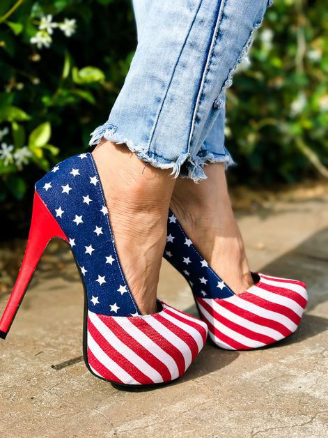 AMERICAN FLAG FAUX LEATHER PLATFORM  - orangeshine.com