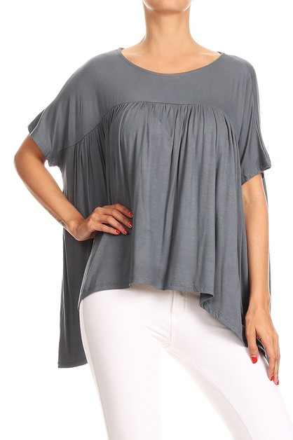 KNIT HANDKERCHIEF HEM LOOSE FIT TOP - orangeshine.com