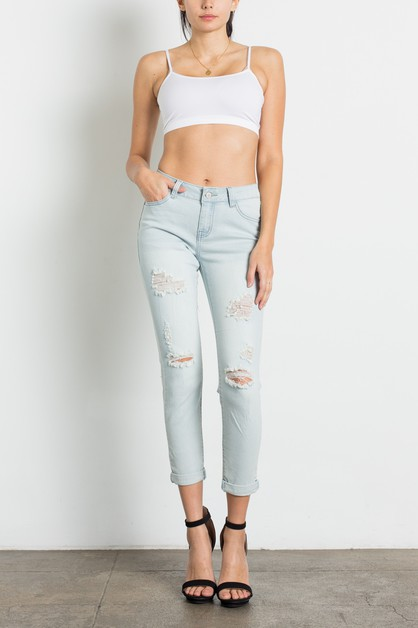 LIGHT BLUE DISTRESSED SKINNY JEANS - orangeshine.com