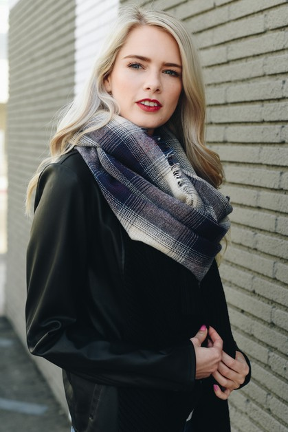 Lightweight Plaid Infinity scarf - orangeshine.com