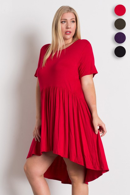 Plus Size Knit Babydoll Dress - orangeshine.com
