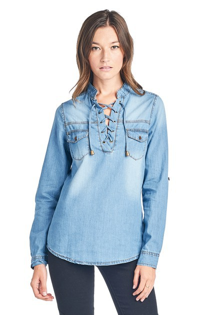 Womens Chambray Top - orangeshine.com