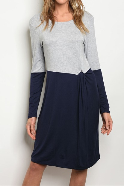 KNIT SOLID COLORBLOCK DRESS - orangeshine.com