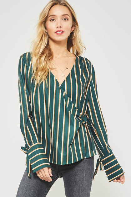 Striped Wrap Blouse with Waist Tie - orangeshine.com