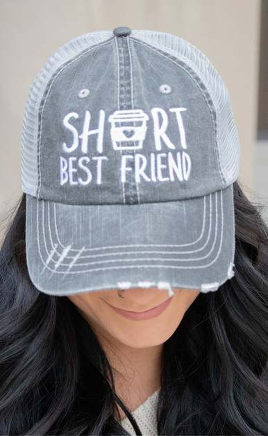 Short Best Friend Coffee Trucker Hat - orangeshine.com
