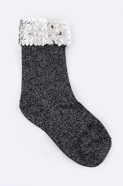 Sequins Top Lurex Socks - orangeshine.com