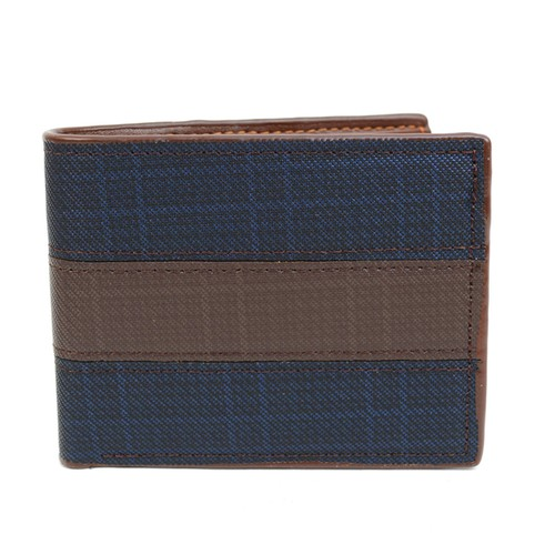 Bi-Fold Leather Navy Brown Wallet  - orangeshine.com
