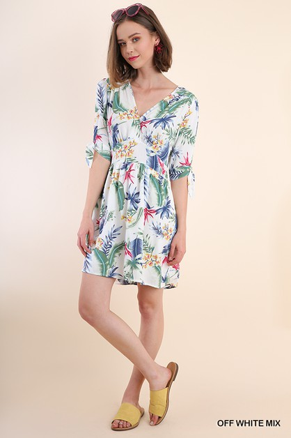 Tropical Print V-Neck Dress - orangeshine.com