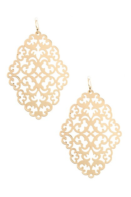 BRASS FILIGREE DROP EARRING  - orangeshine.com