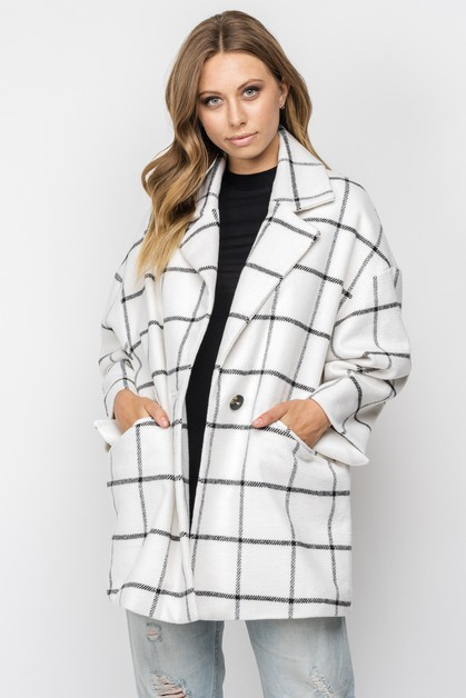 PLAID COLLARED HEAVY COAT - orangeshine.com