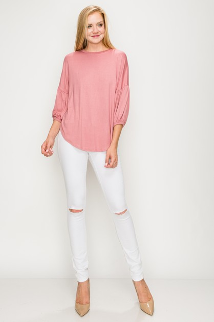 Balloon Puff Sleeve Curved hem Top - orangeshine.com